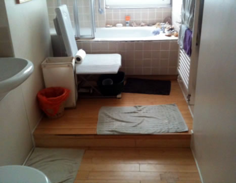 bathroom with step